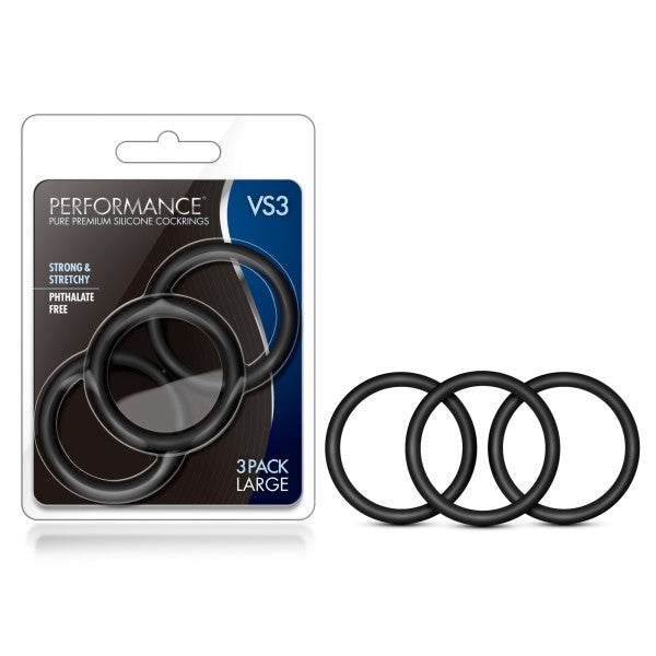 Performance VS3 Pure Premium Silicone Cockrings - Black Large Cock Rings - Set of 3