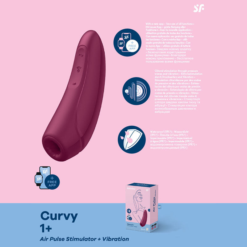 Satisfyer Curvy 1+ - App Contolled Touch-Free USB-Rechargeable Clitoral Stimulator with Vibration