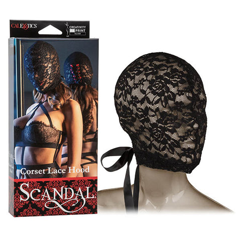 Scandal Corset Lace Hood - Black Full Face Hood