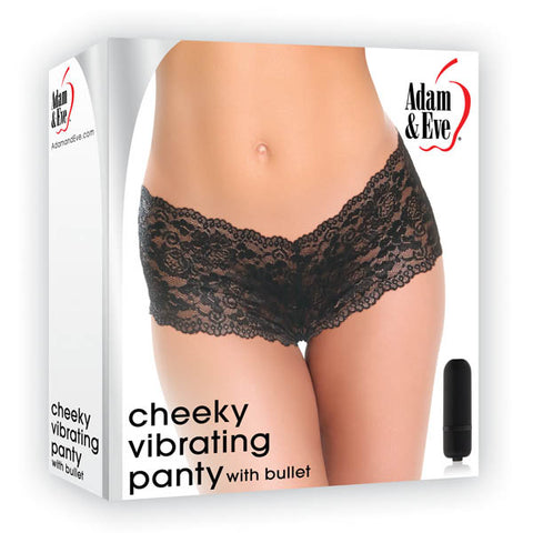 Adam & Eve Cheeky Vibrating Panty - Black Vibrating Panty - Fits AUS Sizes 6-16