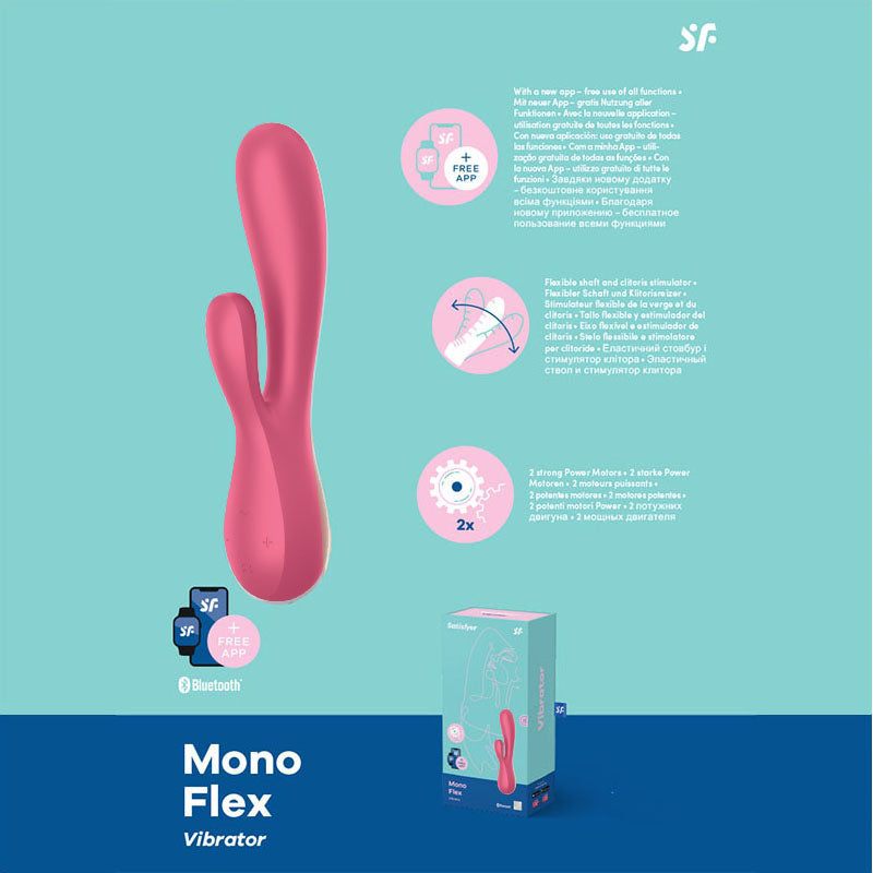 Satisfyer Mono Flex - Red App Controlled USB Rechargeable Rabbit Vibrator