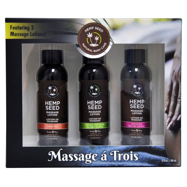 Hemp Seed Massage A Trois - Scented Massage Lotion Kit - 3 Bottle Set