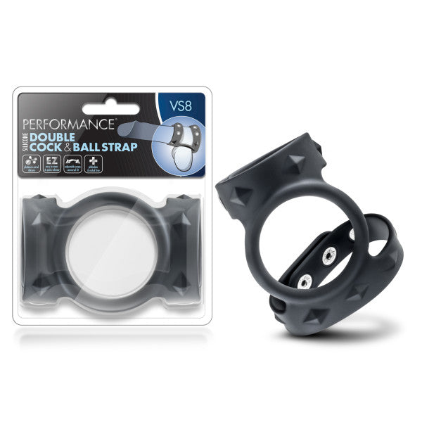 Performance VS8 Silicone Double Cock & Ball Strap - Black Cock Ring with Twin Adjustable Straps