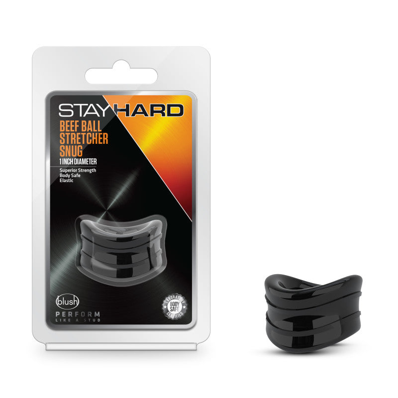 Stay Hard Beef Ball Stretcher Snug - Black 2.5 cm Ball Stretcher Ring