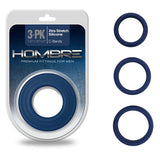 Hombre Xtra Stretch C-Bands - Navy Blue Cock Rings - Set of 3 Sizes