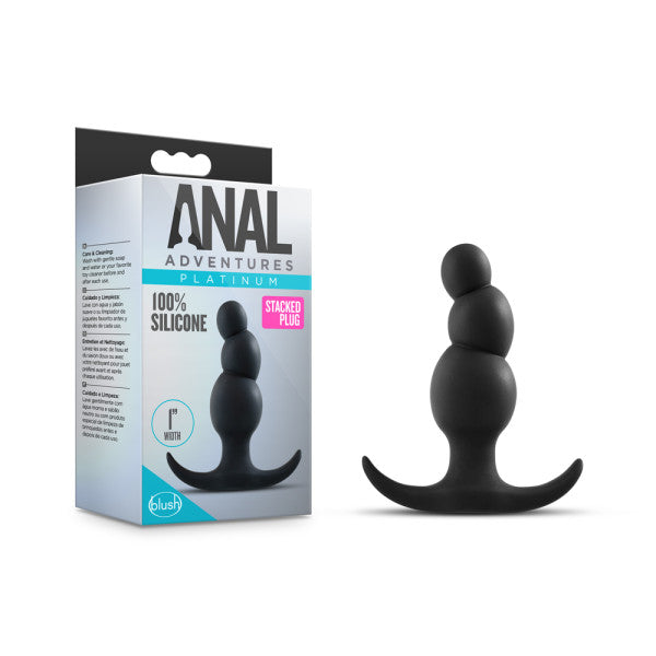 Anal Adventures Platinum Stacked Plug - Black 8.1 cm (3.2'') Silicone Butt Plug