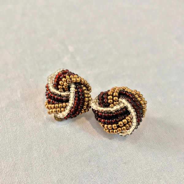 70's Beaded elegance in Biscotti, Gold and Ivory