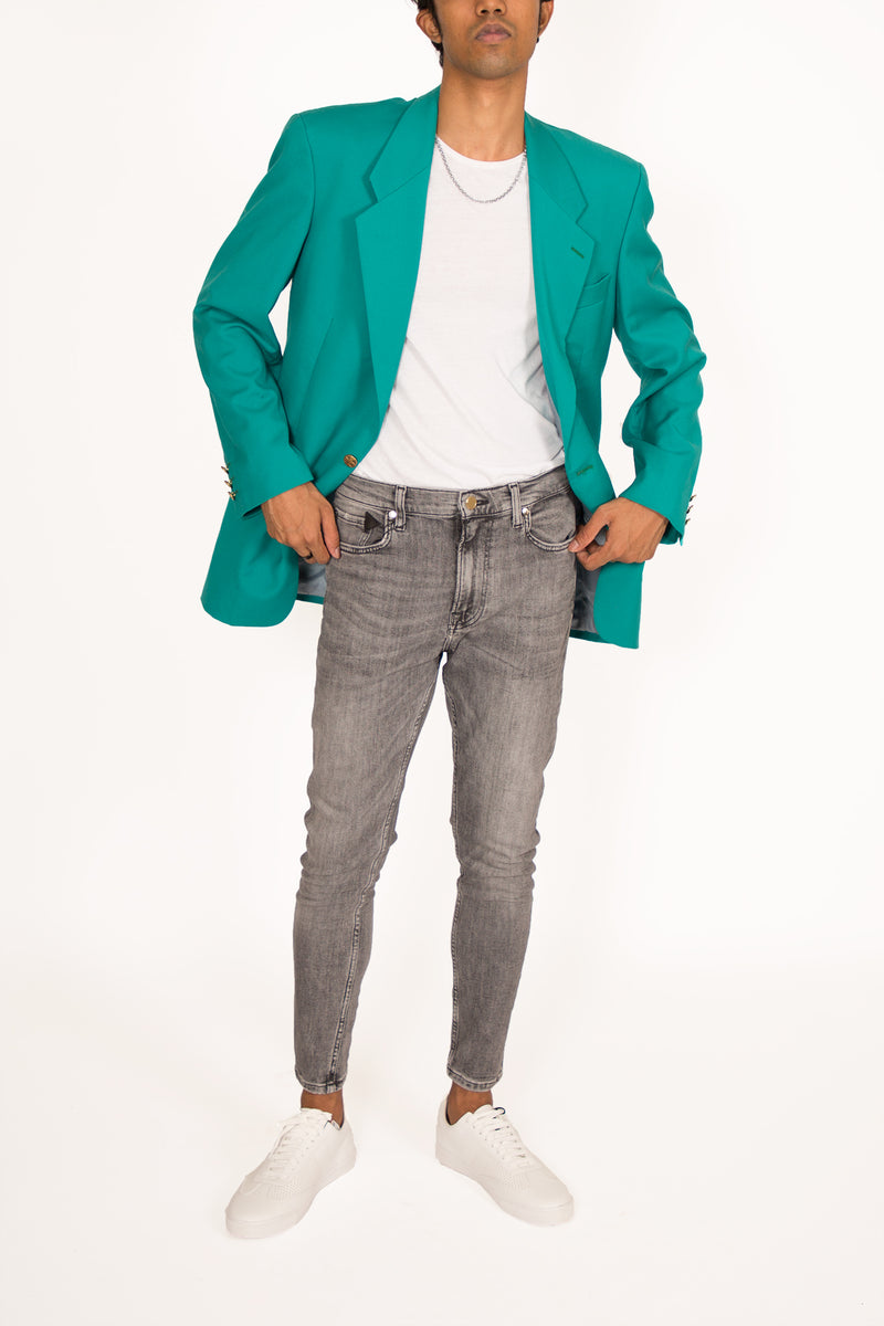 Buy Vintage '80s Pierre Cardin Turquoise Color Blazer Jacket for man on Bodements