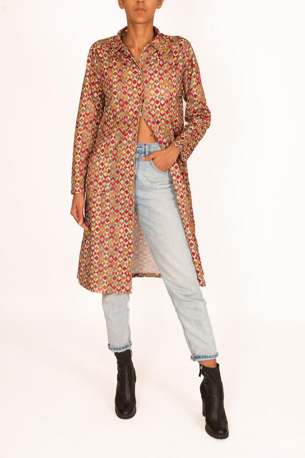 '90s Geometric Printed Shirt Dress