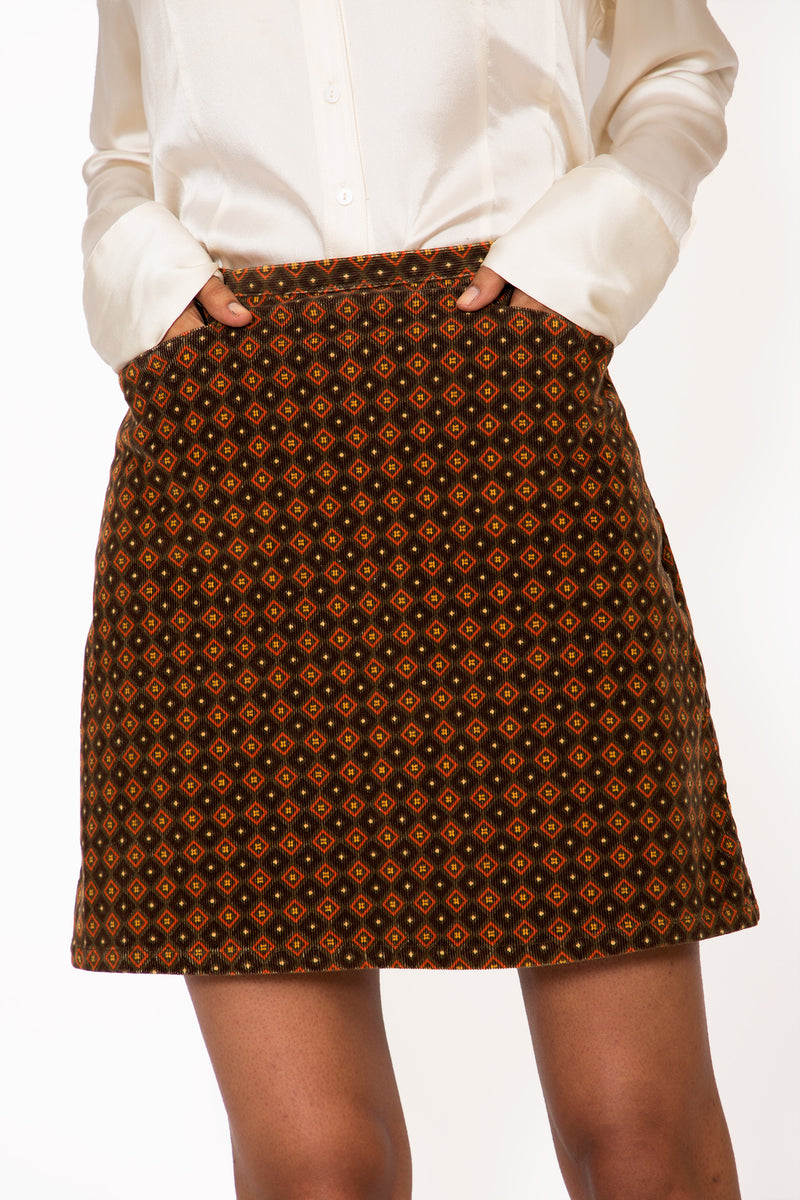 Buy Vintage '70s Printed A-Line Skirt on Bodements
