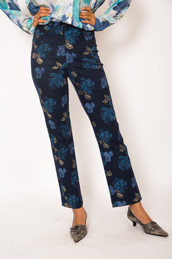 Buy Vintage Floral Printed Blue Denim Pants for woman on Bodements.com