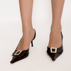 Buy Vintage Black and White Square Buckle Leather Heel Shoes on Bodements