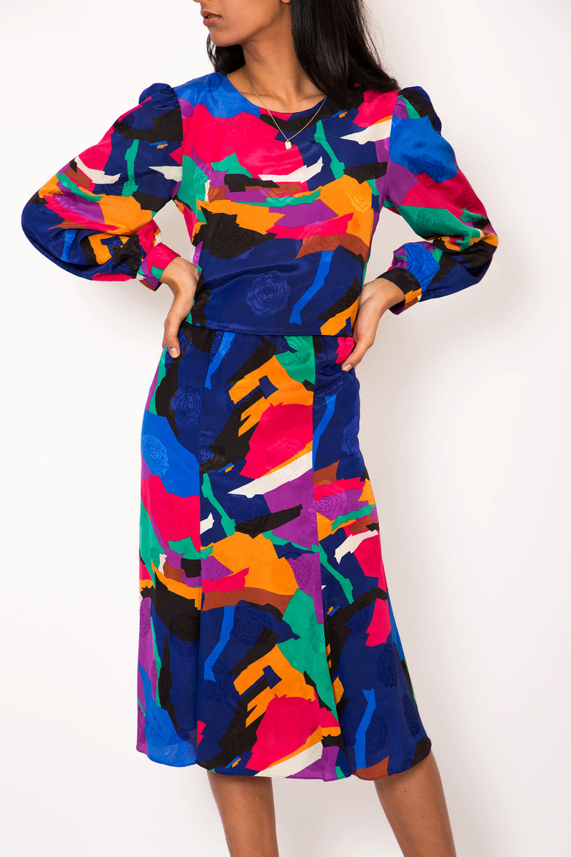 Buy 1980's Flashy Multi Coloured Dress on Bodements