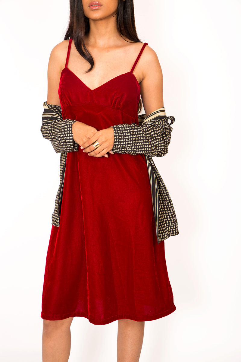 Buy '90s Maroon Velvet Strap Dress on Bodements.com