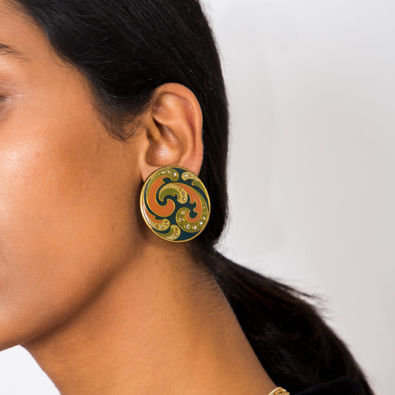 Buy Vintage 1970s Psychedelic Disc Clip-on Earrings on Bodements.com