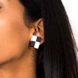 Buy Vintage 1960s Black and White Checkered Clip-on Earrings on Bodements.com