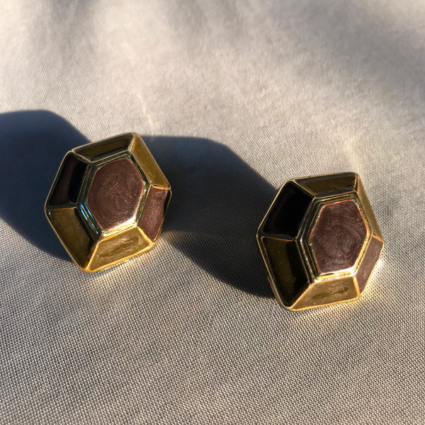 Buy Vintage 1960s Hexagon Shaped Clip-On Earrings on Bodements.com