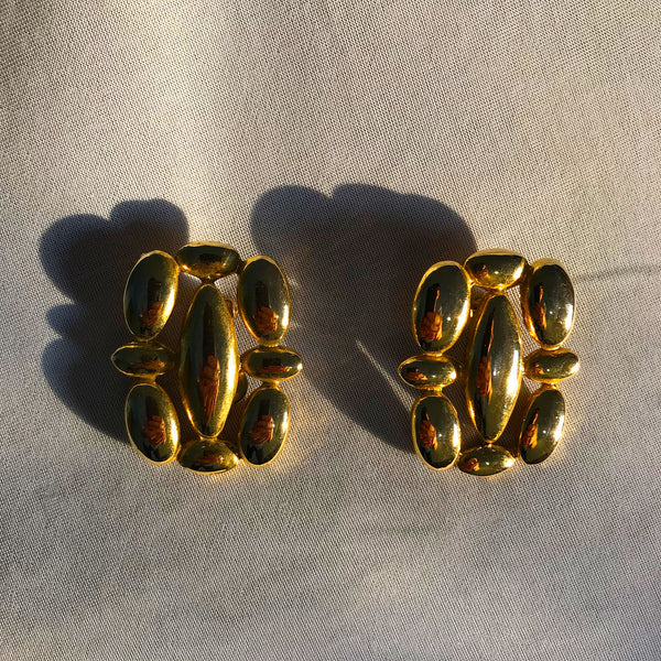 Buy Vintage 1960s Golden Clip-On Earrings on Bodements.com