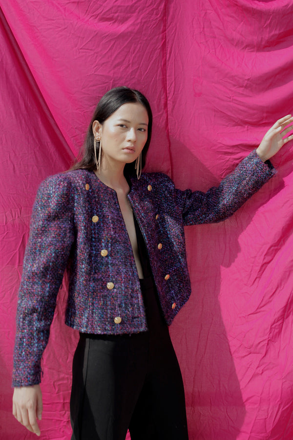 Buy Vintage Purple Textured Wool Jacket for Woman on Bodements.com