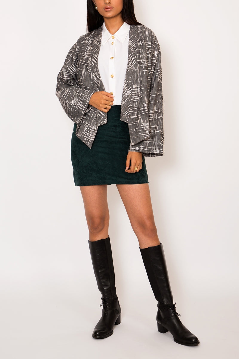 Buy Vintage Grey Cropped Kimono Jacket for Woman on Bodements.com