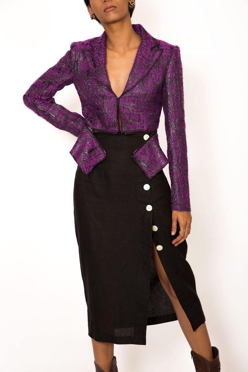 Buy Vintage Adjustable Purple Metallic Jacket for Woman on Bodements