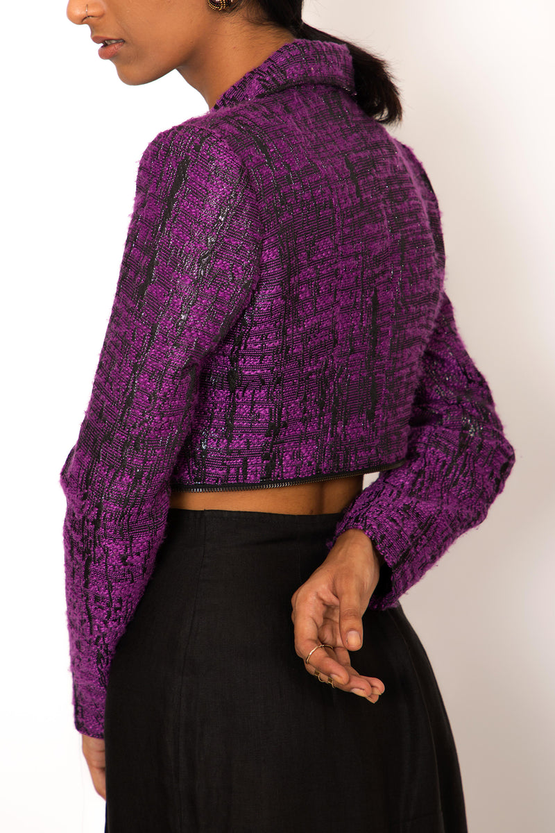 '00s Adjustable Purple Metallic Textured Jacket