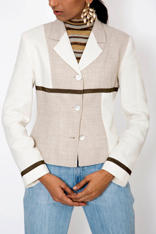 Buy White Linen Blazer Jacket Vintage for Woman on Bodements.com