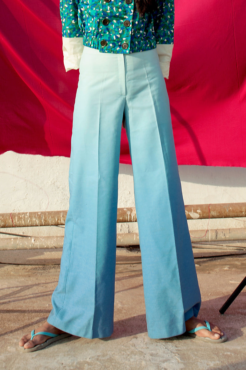 Buy Vintage '70s Ombre Blue Tapered Pants for woman on Bodements.com