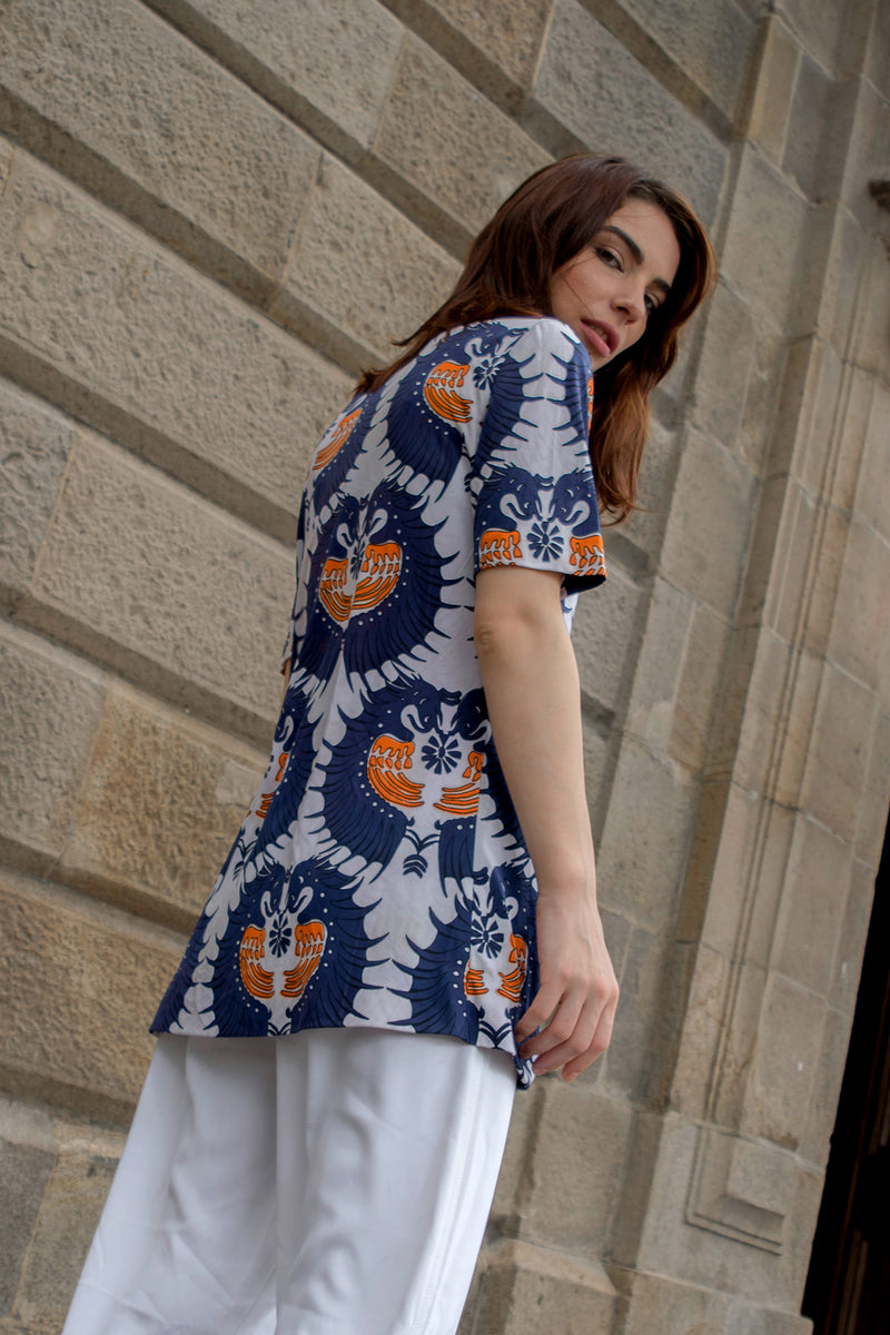 "Buy Vintage ""Drops"" Psychedelic Short Sleeved Shirt for woman on Bodements"