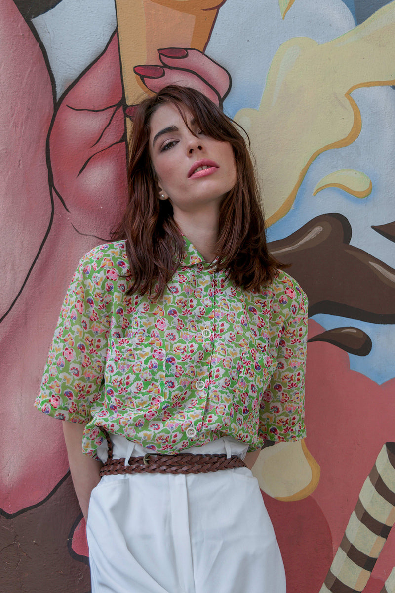Buy Vintage 90s Floral Printed Shirt for woman on Bodements