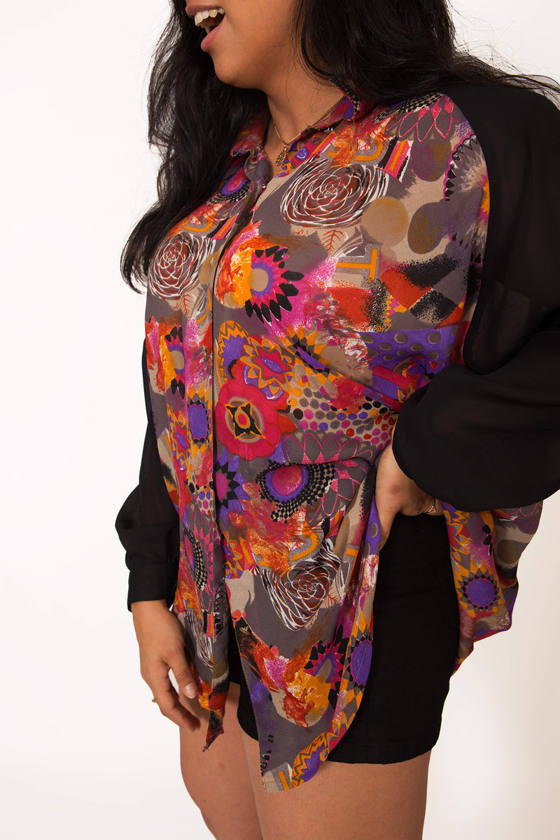 Buy Vintage Cuff Sleeve Shirt w/ Flower Prints for woman on Bodements