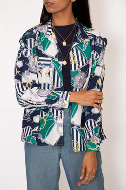 Buy Vintage Navy Printed Shirt for woman on Bodements