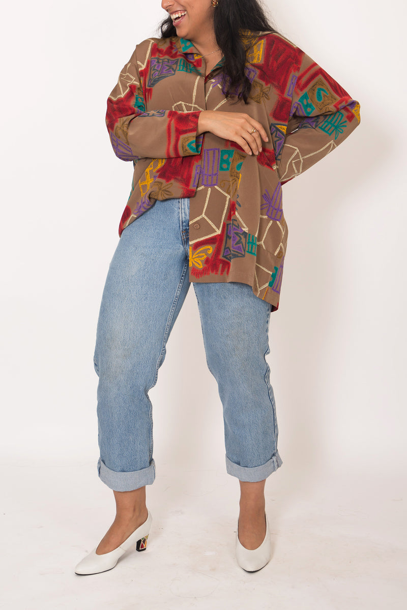 Buy Vintage '80s Brown Geometric Unisex Shirt on Bodements.com
