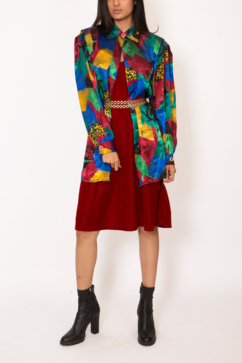 Buy Vintage Multi-Colored Satin Blouse for woman on Bodements