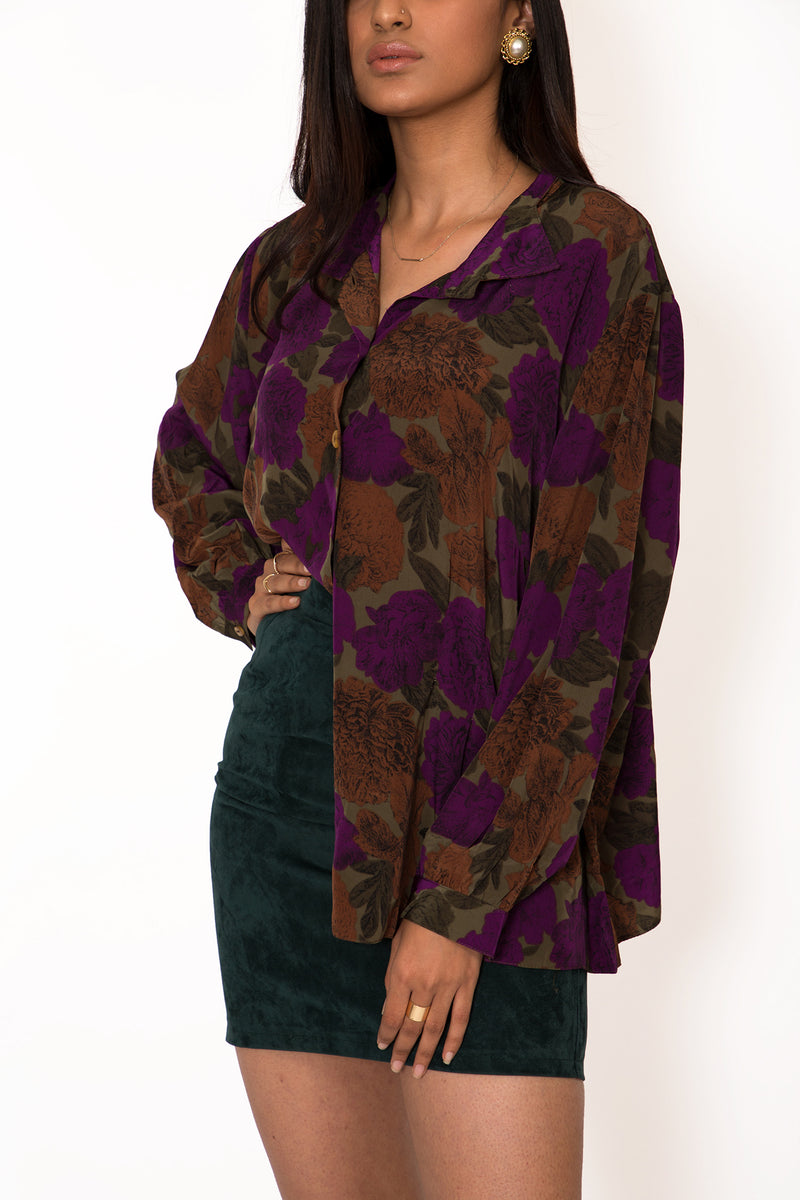 Buy Vintage Jewel Toned Floral Shirt for woman on Bodements