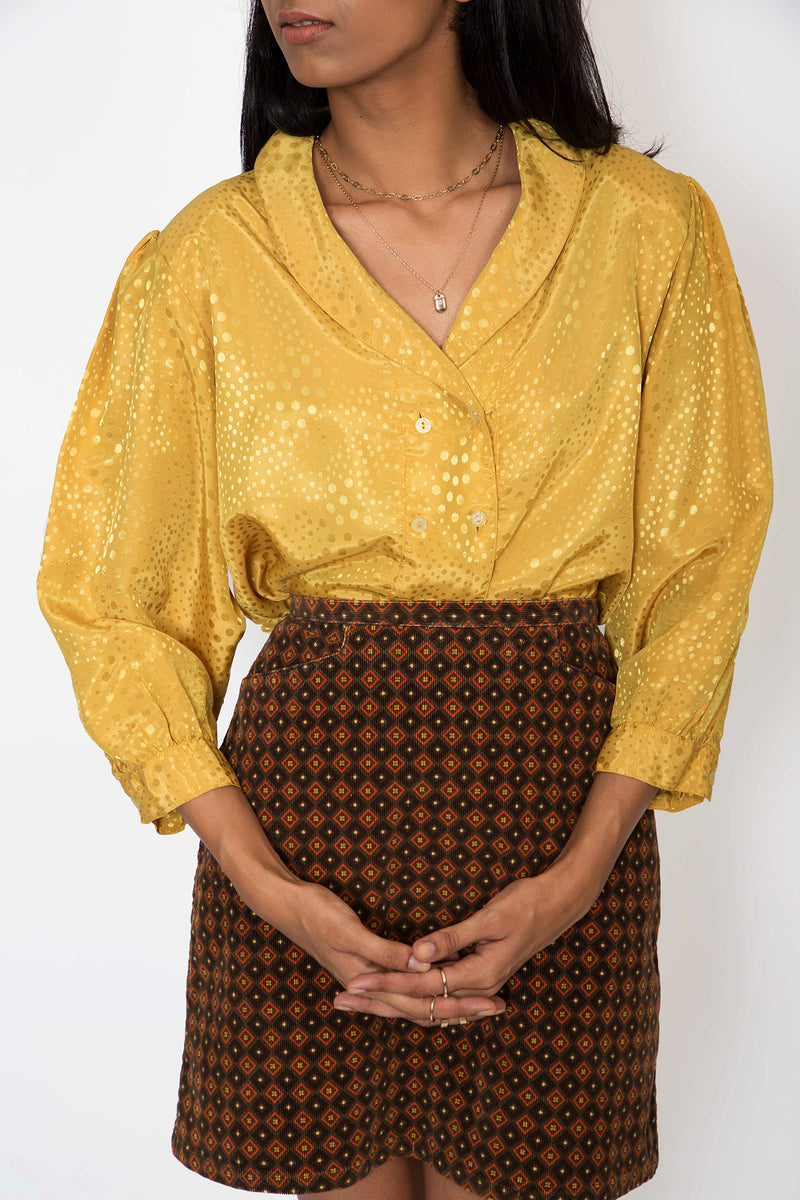 Buy Vintage Yellow Satin Blouse for woman on Bodements