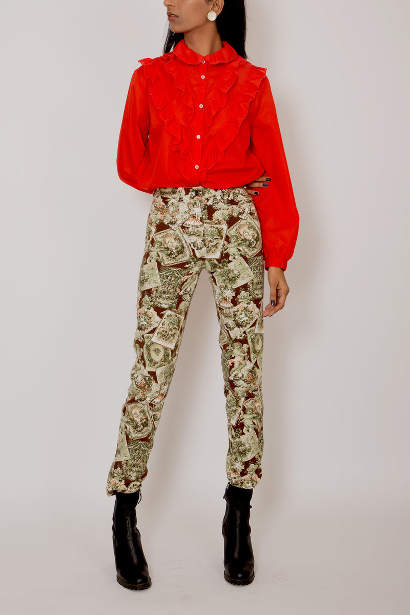 Buy Vintage Red Poet Shirt for woman on Bodements