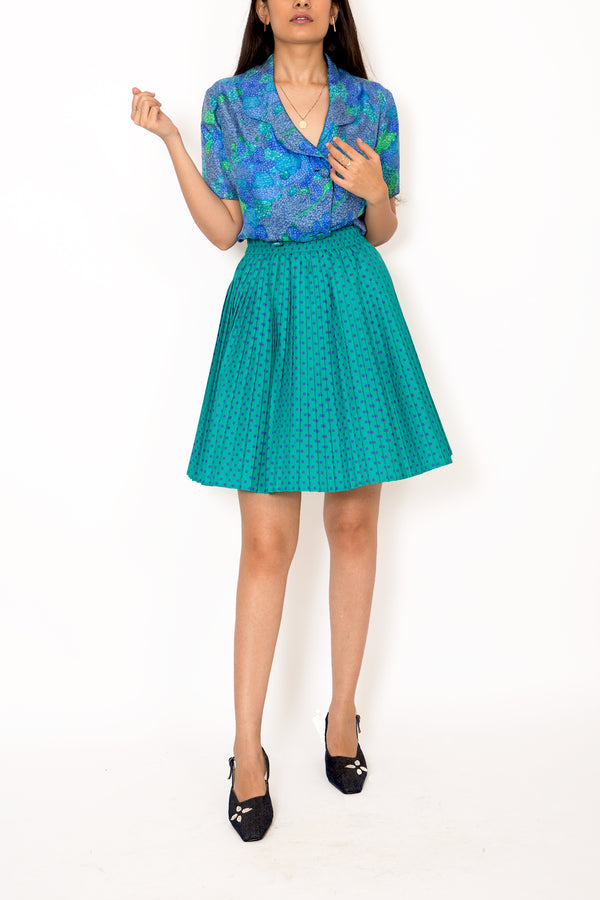 Buy Vintage '70s Polka Dot Cyan Skirt on Bodements