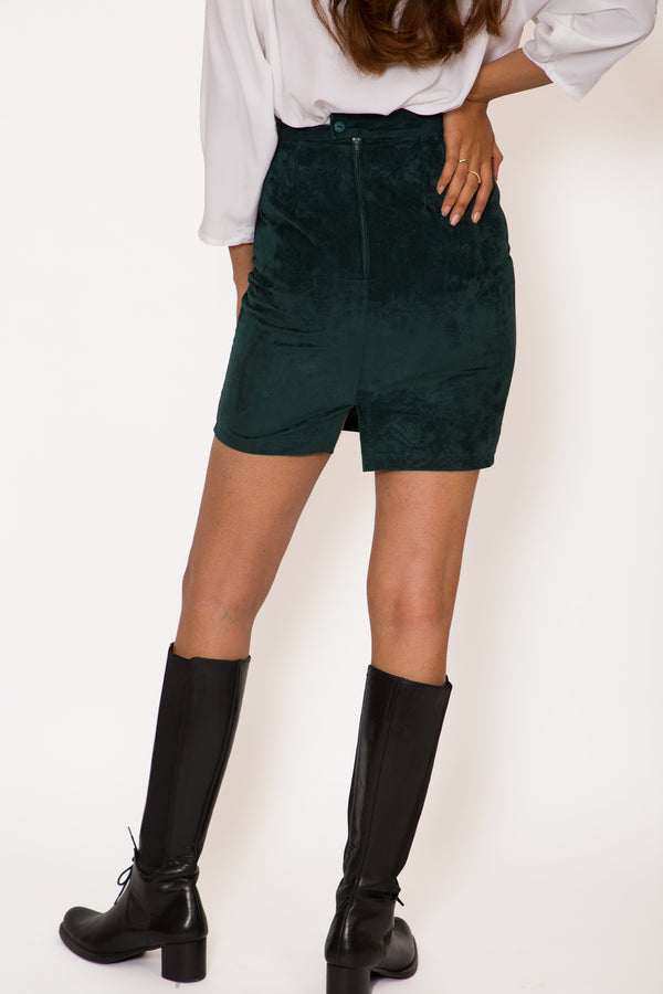 Buy '80s Velvet Green Skirt Vintage on Bodements