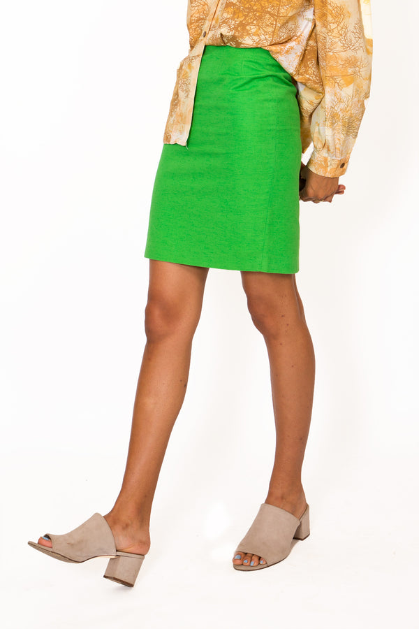 Buy Vintage '70s 'Midori' Vibrant Green Pencil Skirt on Bodements