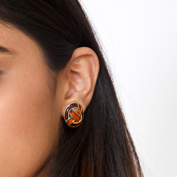 Buy Vintage 1960s Maroon and Deep Orange Clip On Earrings on Bodements.com
