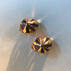 '80s Gold and Purple Clip On Earrings
