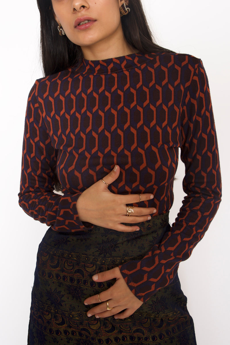 Buy Vintage Vasarely Prints Long Sleeve Top for Woman on Bodements.com