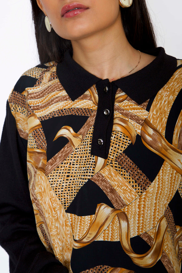 '80s Baroque Printed Polo Neck Pullover with Golden Buttoned Placket