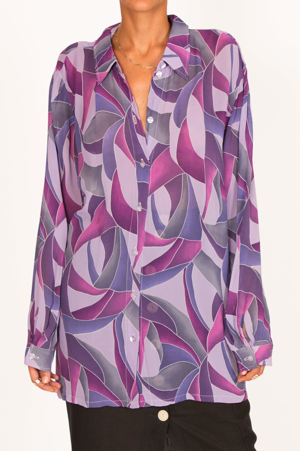 '80s Fluid Shirt In Retro Psychedelic Print