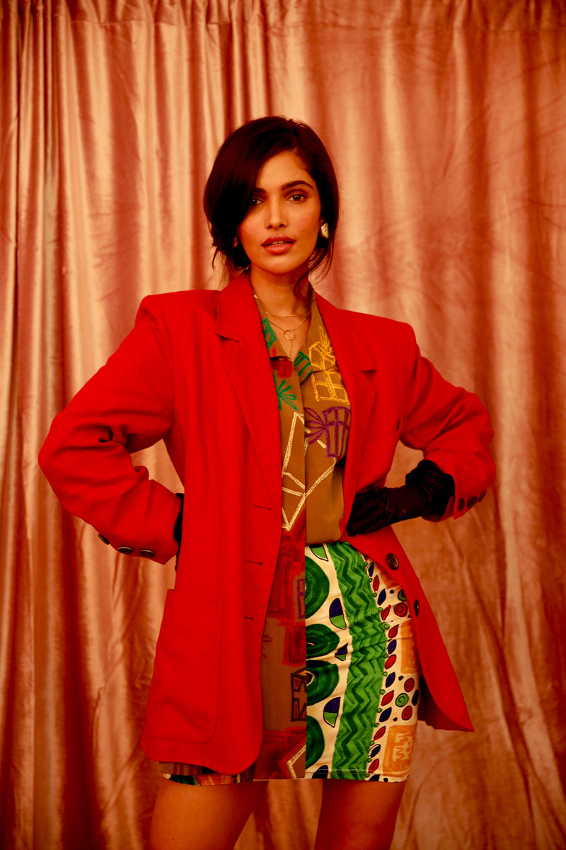 Buy Vintage Designer Yves Saint Laurent Red Linen Jacket for Woman on Bodements.com
