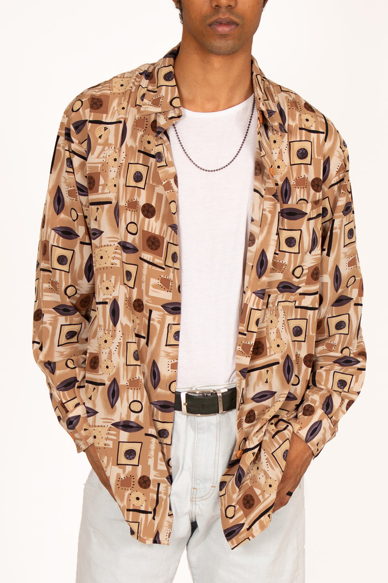 '80s Brown Ethnic Printed Shirt