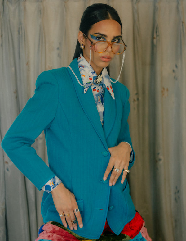 '70s Open Lapel Blazer in Aqua with Power Shoulders