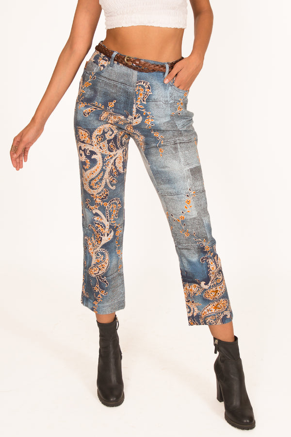'00s Cropped Paisley Printed Jeans
