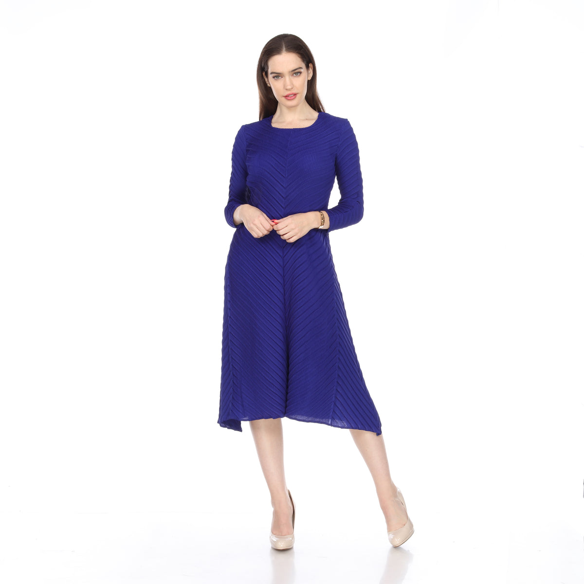 Long Sleeve ZigZag Crinkle Dress - Blue